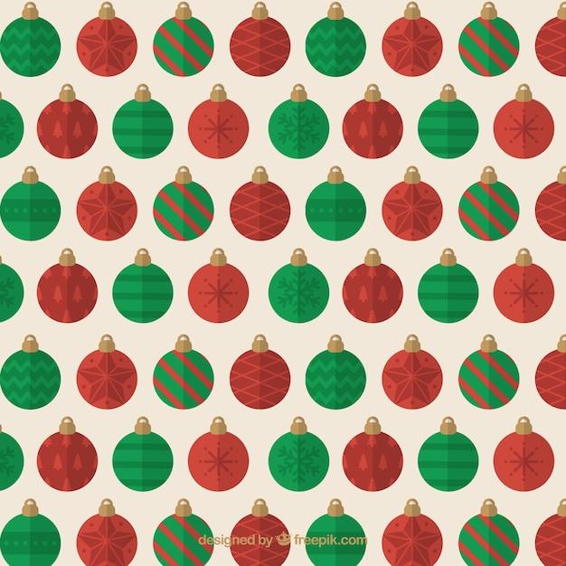 Modello di palline rosse e verdi di natale Vettore gratuito