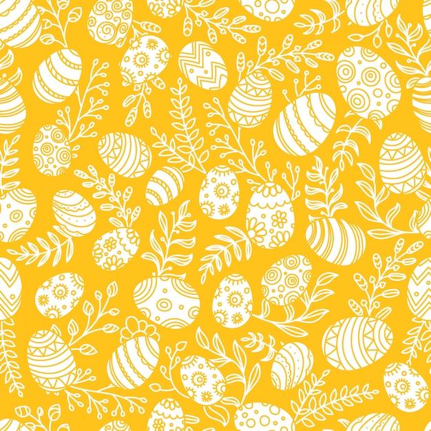 Modello di pasqua con uova e fiori primaverili. modello vettoriale senza soluzione di continuità Vettore Premium