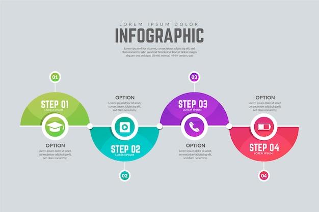 Modello di passaggi infografica moderna Vettore gratuito
