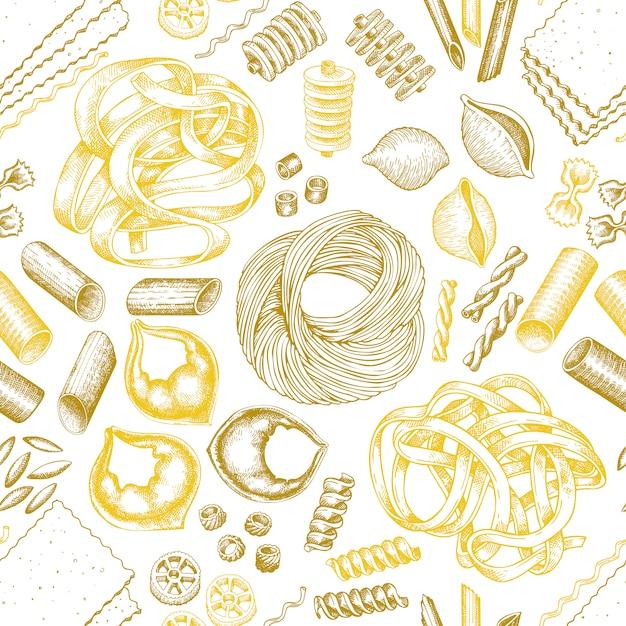 Modello di pasta italiana senza soluzione di continuità. Vettore Premium