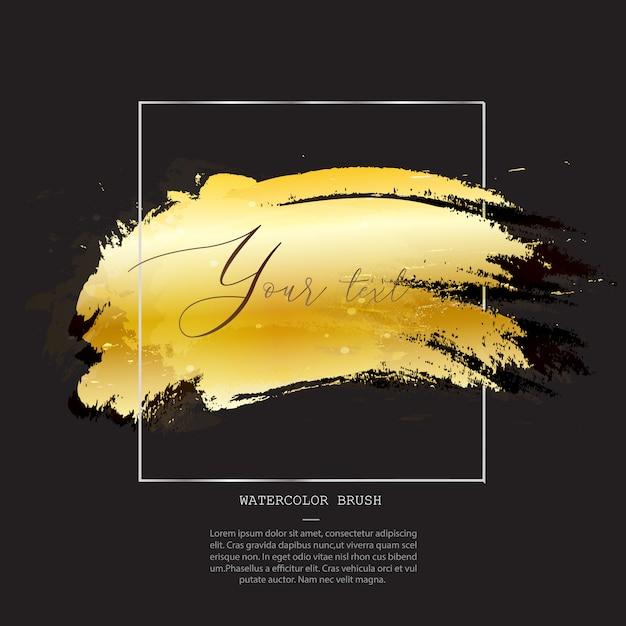 Modello di pennello acquerello dorato Vettore Premium