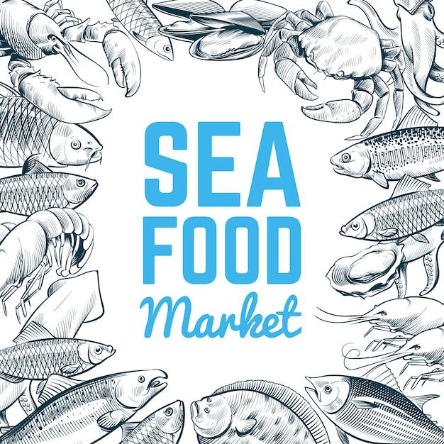 Modello di pesce e frutti di mare di schizzo Vettore Premium
