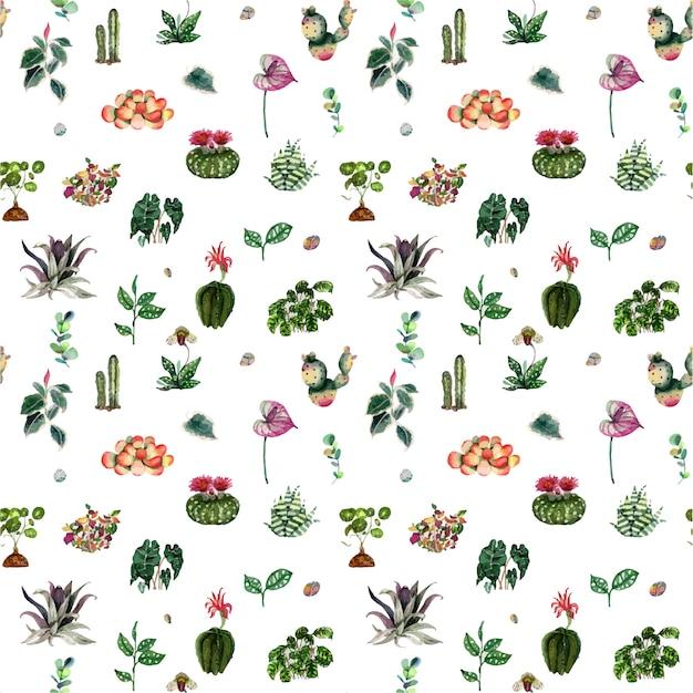 Modello di piante e fiori di casa Vettore Premium