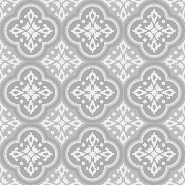 Modello di piastrelle ceramiche talavera messicane, decorazione ceramica italiana, disegno azulejo portoghese senza cuciture, ornamento maiolica spagnola vintage, carta da parati antica grigia e marrone Vettore Premium