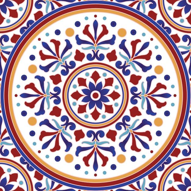 Modello di piastrelle d'epoca con stile turco patchwork colorato Vettore Premium