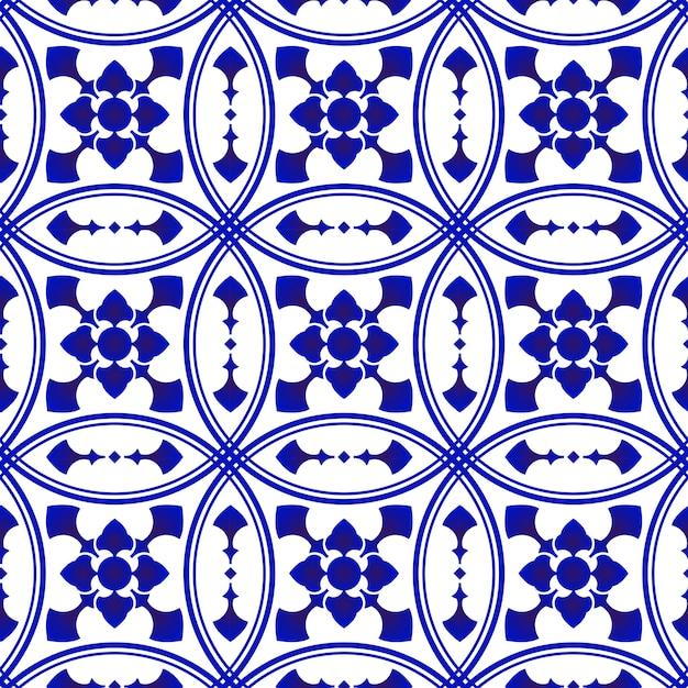 Modello di piastrelle decorative blu e bianco Vettore Premium