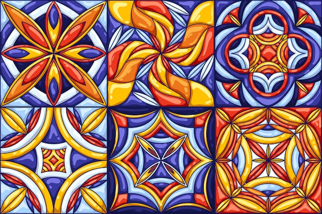 Modello di piastrelle di ceramica. tipiche piastrelle di ceramica portoghesi o italiane decorate. Vettore Premium