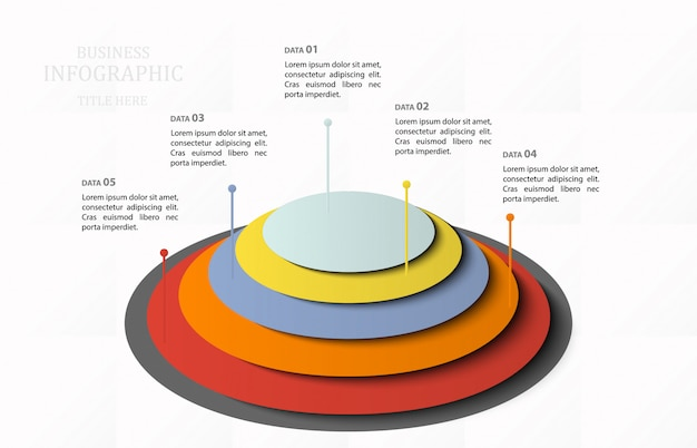 Modello di piramide moderna infografica con cinque elementi. 5 step. illustrazione vettoriale Vettore Premium