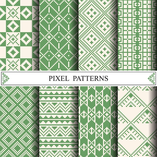 Modello di pixel tailandese per fare tessuto tessile Vettore Premium