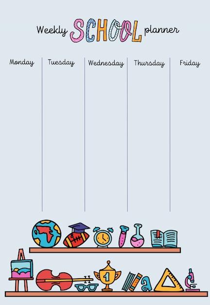 Modello di planner settimanale verticale. organizzatore e programma con posto per le note. Vettore Premium