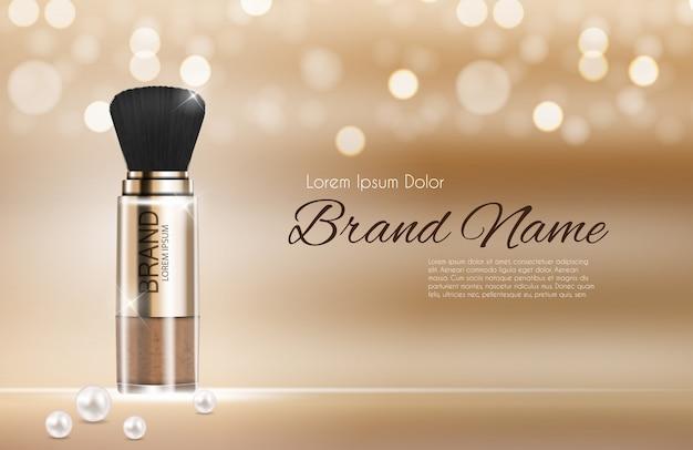 Modello di polvere di prodotti cosmetici design per annunci. Vettore Premium