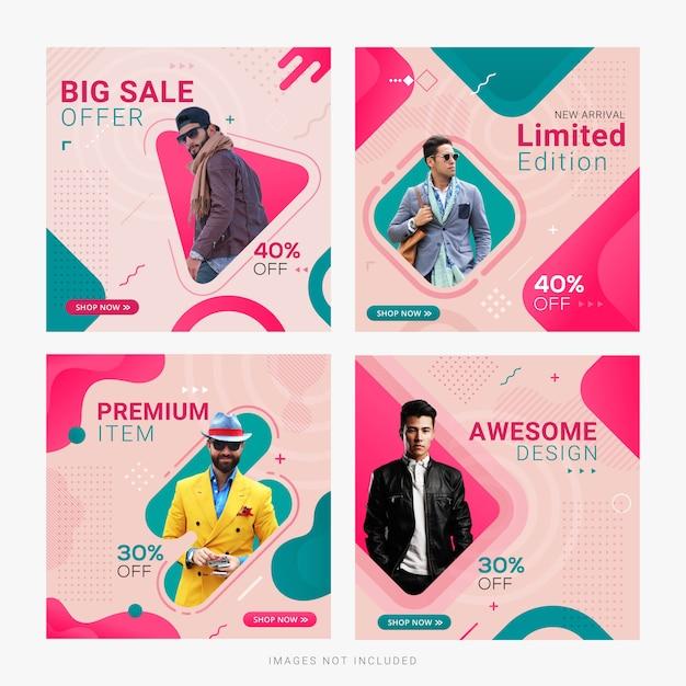 Modello di post annuncio banner social media vendita di moda Vettore Premium