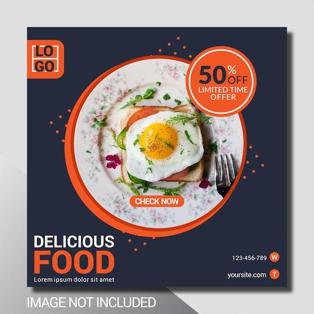 Modello di post culinario social media Vettore Premium