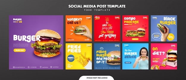Modello di post di feed di social media burger Vettore Premium
