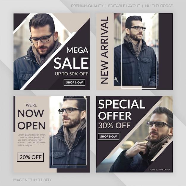 Modello di post di instagram di vendita di moda Vettore Premium