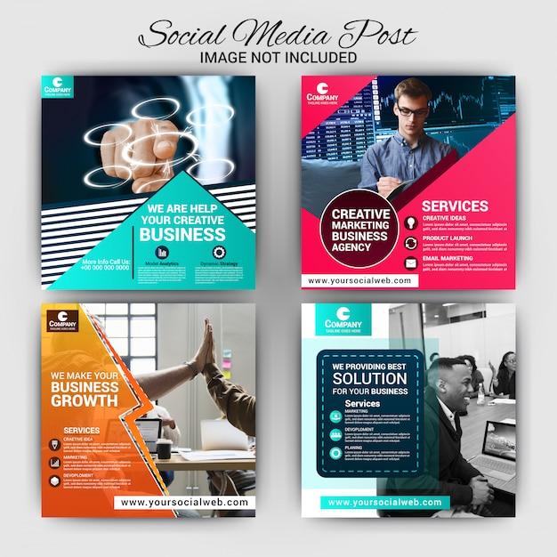 Modello di post di social media aziendali Vettore Premium