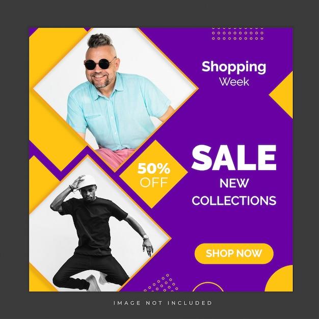 Modello di post di social media vendita di fine settimana Vettore Premium