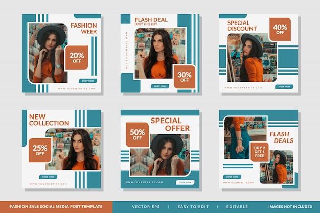 Modello di post di social media vendita di moda Vettore Premium