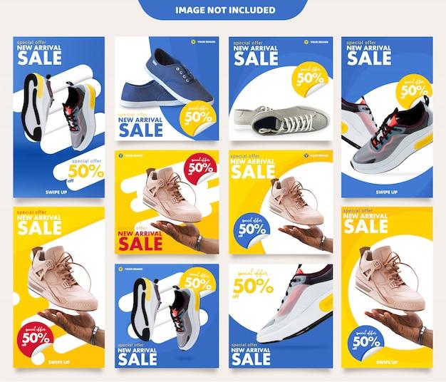 Modello di post e storie di instagram di sneakers Vettore Premium