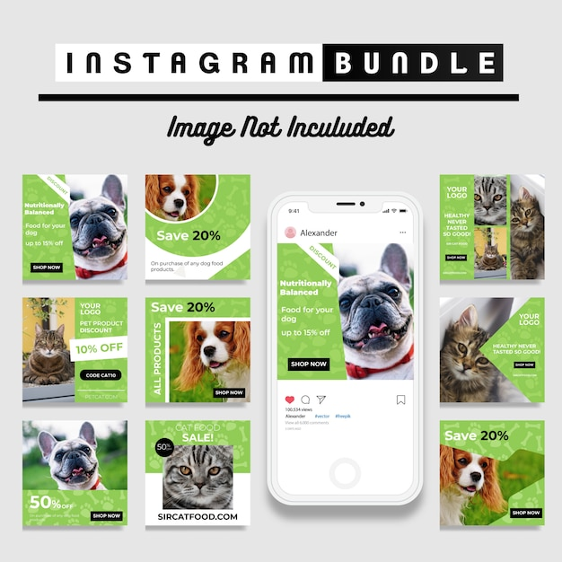 Modello di post instagram di pet shop Vettore Premium