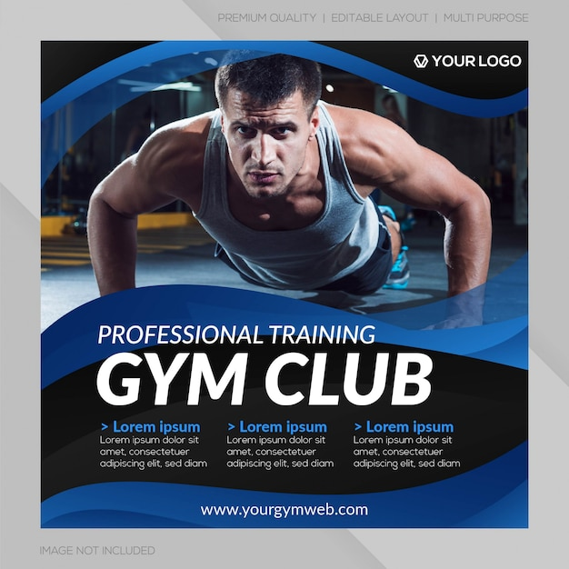 Modello di post social media fitness club Vettore Premium