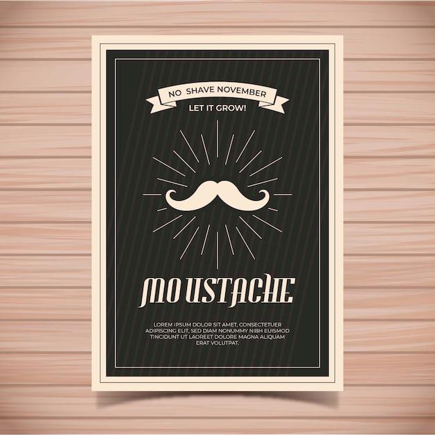 Modello di poster baffi movember Vettore gratuito