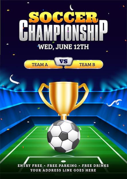 Modello di poster campionato di calcio con illustrazione di pallone da calcio, campione trofeo e squadre partecipanti Vettore Premium