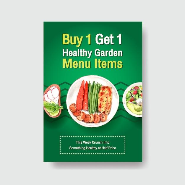 Modello di poster con design di alimenti biologici e sani Vettore gratuito