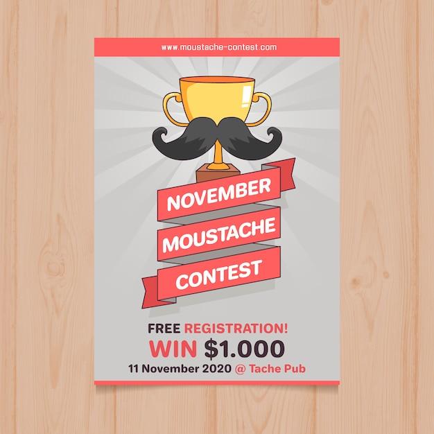 Modello di poster contest di baffi di movember Vettore gratuito
