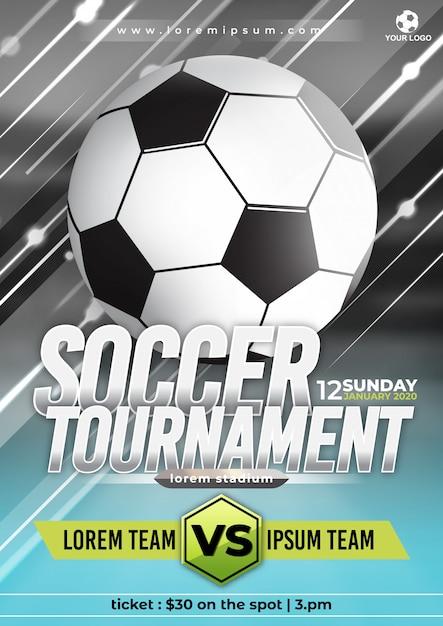 Modello di poster del torneo di coppa di calcio con design alla moda Vettore Premium
