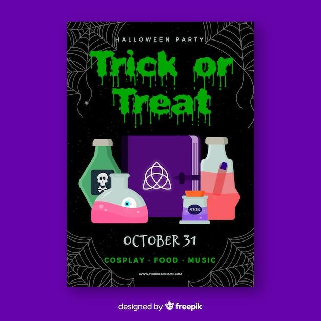 Modello di poster di alchimia festa di halloween Vettore gratuito