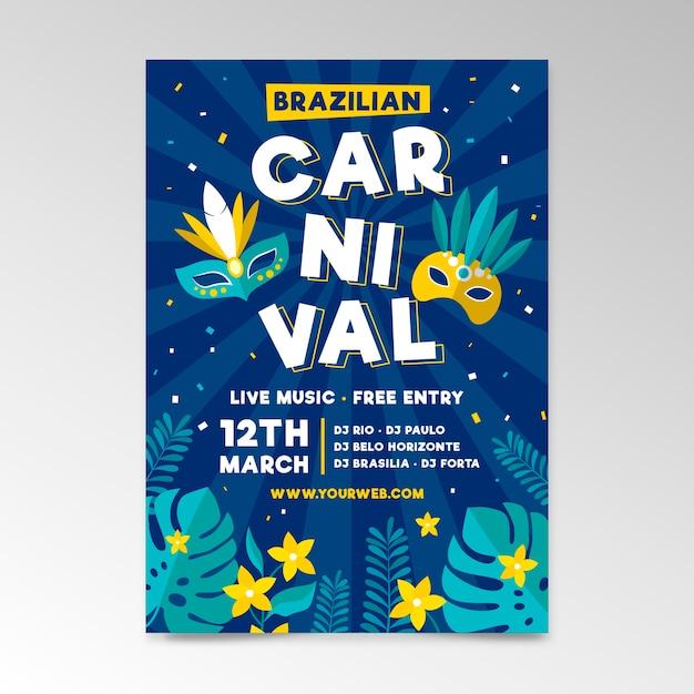 Modello di poster di carnevale brasiliano disegnato a mano Vettore gratuito