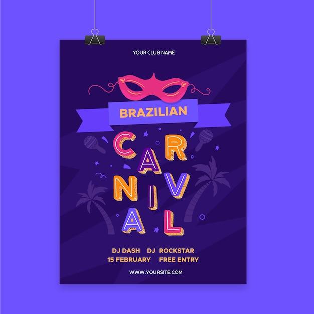 Modello di poster di carnevale brasiliano Vettore gratuito