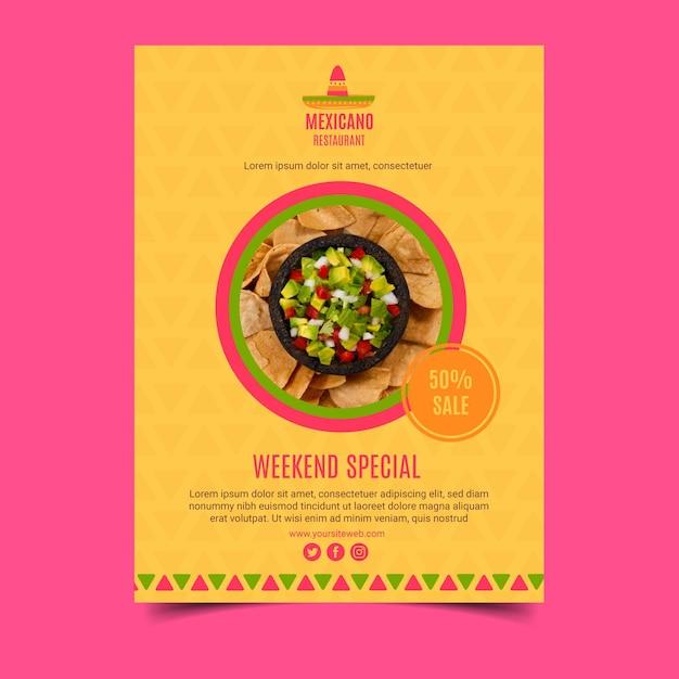 Modello di poster di cibo messicano Vettore gratuito