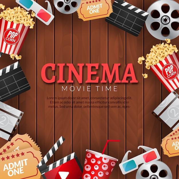Modello di poster di cinema cinema. bobina di pellicola, popcorn, battaglio, occhiali 3d. Vettore Premium