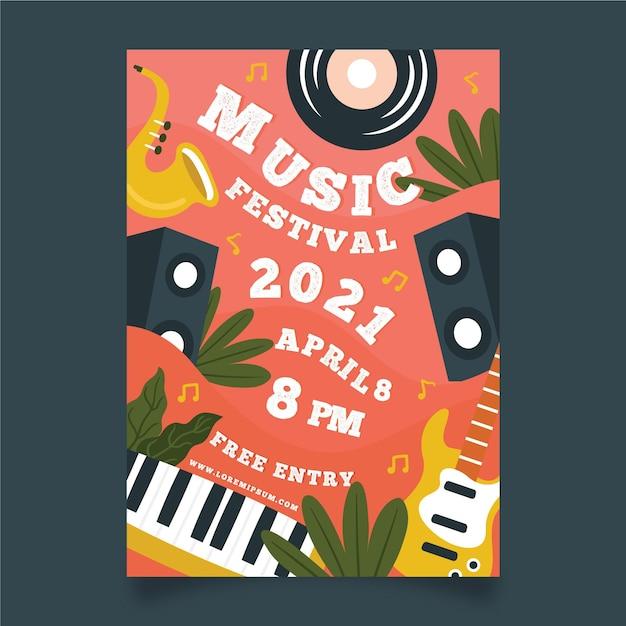 Modello di poster di eventi funky strumenti musicali Vettore gratuito