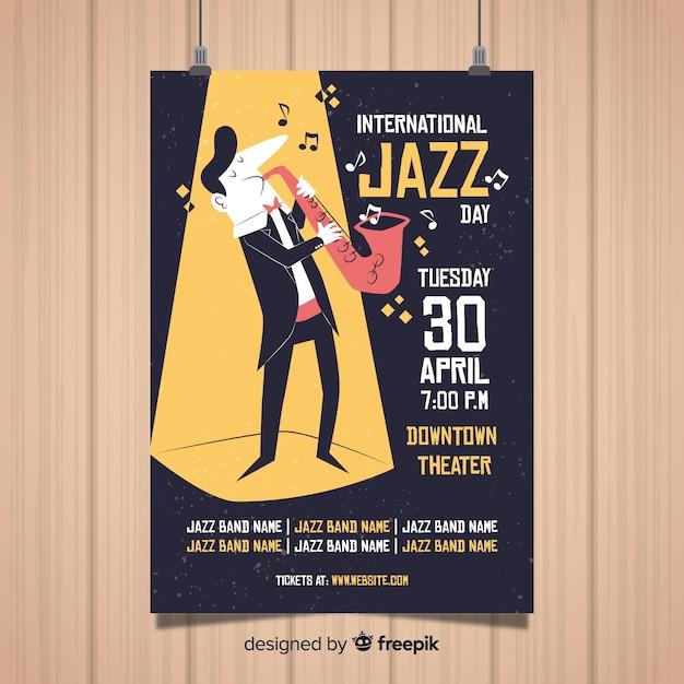 Modello di poster di jazz internazionale Vettore gratuito