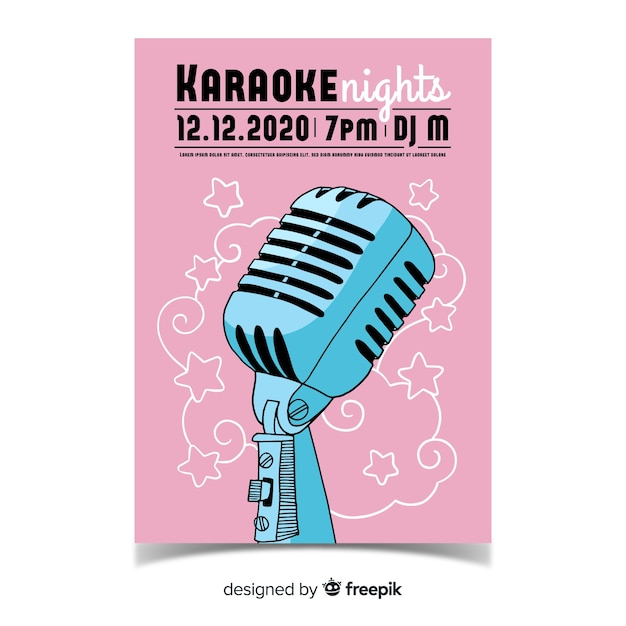 Modello di poster di karaoke disegnato a mano Vettore gratuito