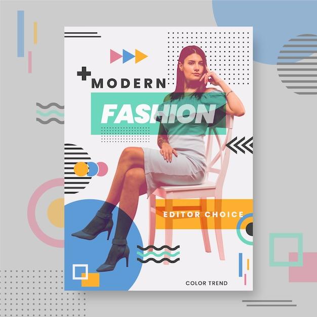 Modello di poster di moda colorato con foto Vettore gratuito