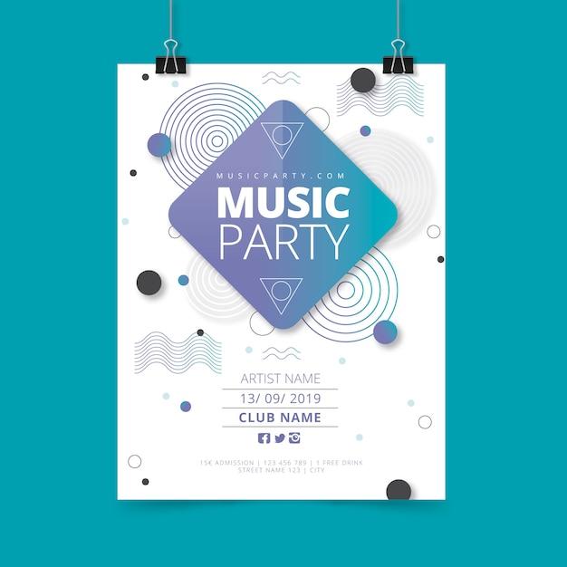 Modello di poster di musica astratta del partito Vettore gratuito