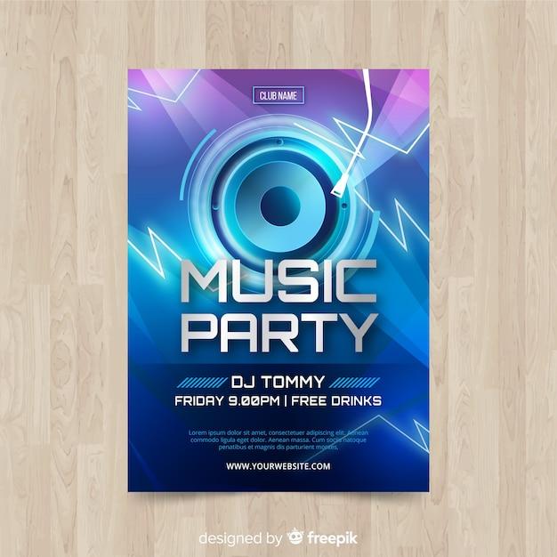 Modello di poster di musica con altoparlante Vettore gratuito