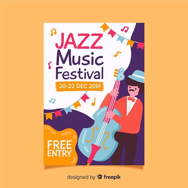 Modello di poster di musica disegnata a mano Vettore gratuito