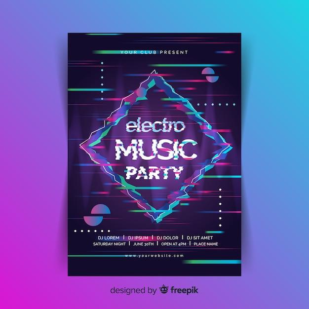 Modello di poster di musica elettronica effetto glitch Vettore gratuito