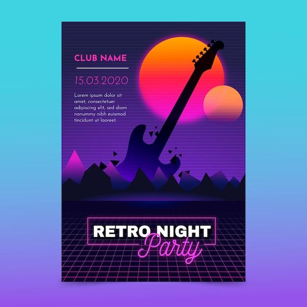 Modello di poster di musica futuristica retrò Vettore gratuito