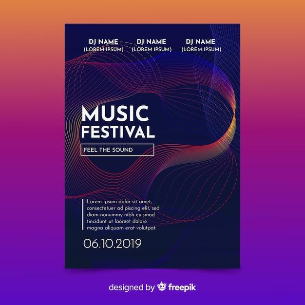 Modello di poster di musica Vettore gratuito