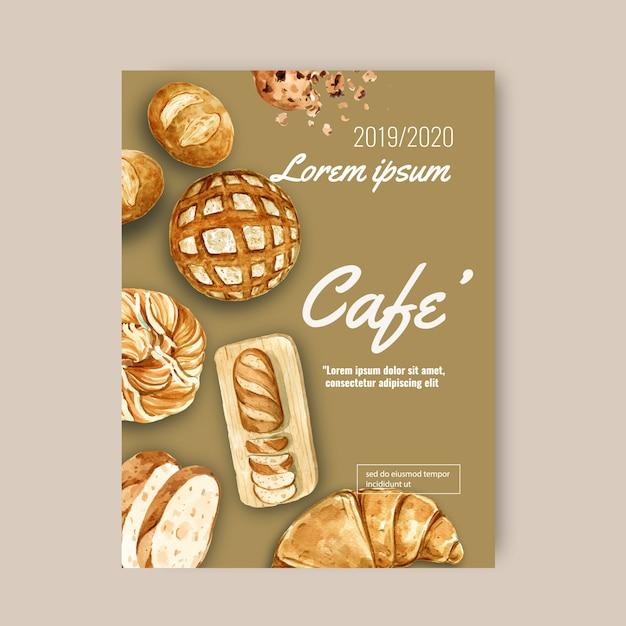 Modello di poster di panetteria. raccolta pane e panino fatti in casa Vettore gratuito