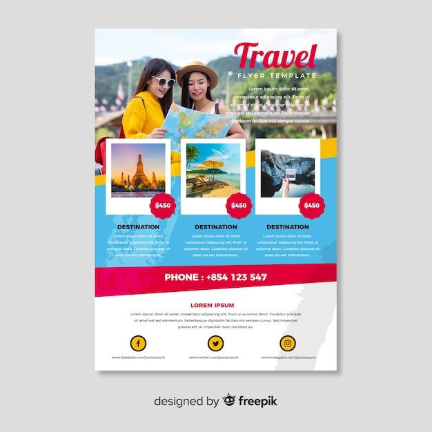 Modello di poster di viaggio con foto Vettore gratuito