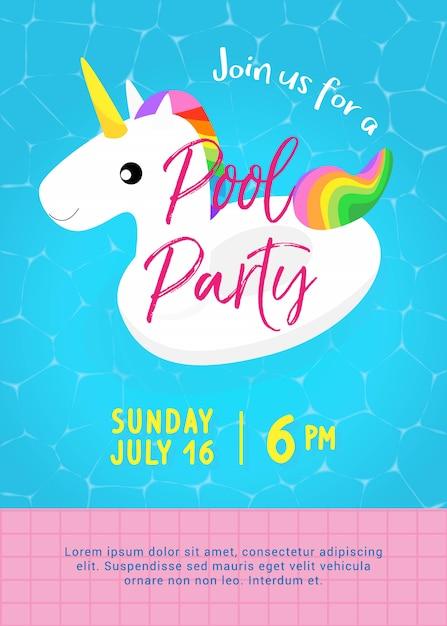 Modello di poster festa in piscina. carino galleggiante piscina unicorno Vettore Premium