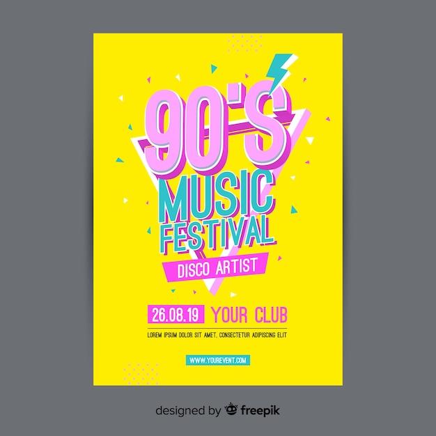 Modello di poster festival di musica colorata Vettore gratuito