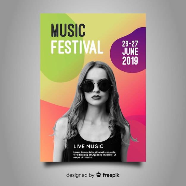 Modello di poster festival di musica gradiente Vettore gratuito